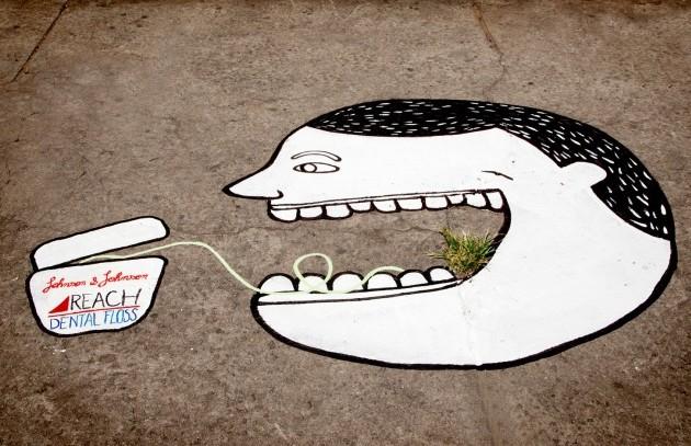 Johnson & Johnson Reach diş ipi ambient reklam uygulaması