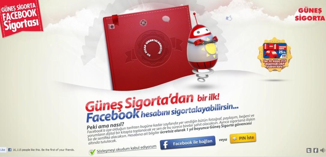 Güneş Sigorta Facebook hesabınızı sigortalıyor