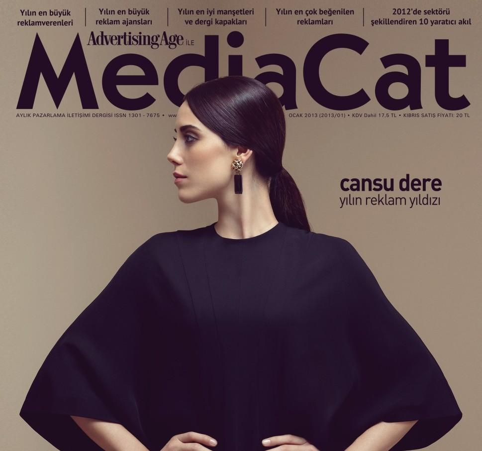 Cansu Dere kapak çekimleri kamera arkası - mediaCat Ocak 2013 kapak
