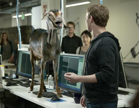 Facebook'un yeni reklamında Zuckerberg'in rol arkadaşı bir keçi
