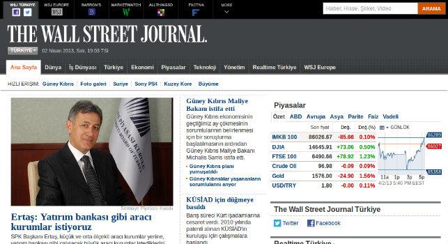 Wall Street Journal Türkiye resmi internet sitesi yayına başladı