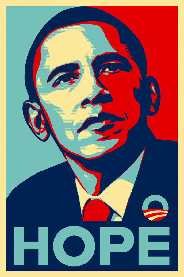 "Shepard Fairey, ""Obama Hope"""