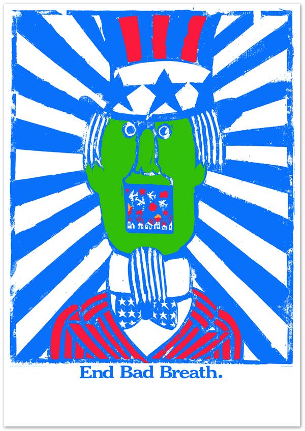 """Seymour Chwast, """"End Bad Breath"""" (Vietnam savaşı karşıtı bir çalışma)"""