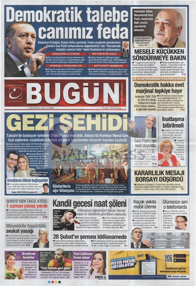 Gazetelerin manşet piştisi: Bugün Gazetesi