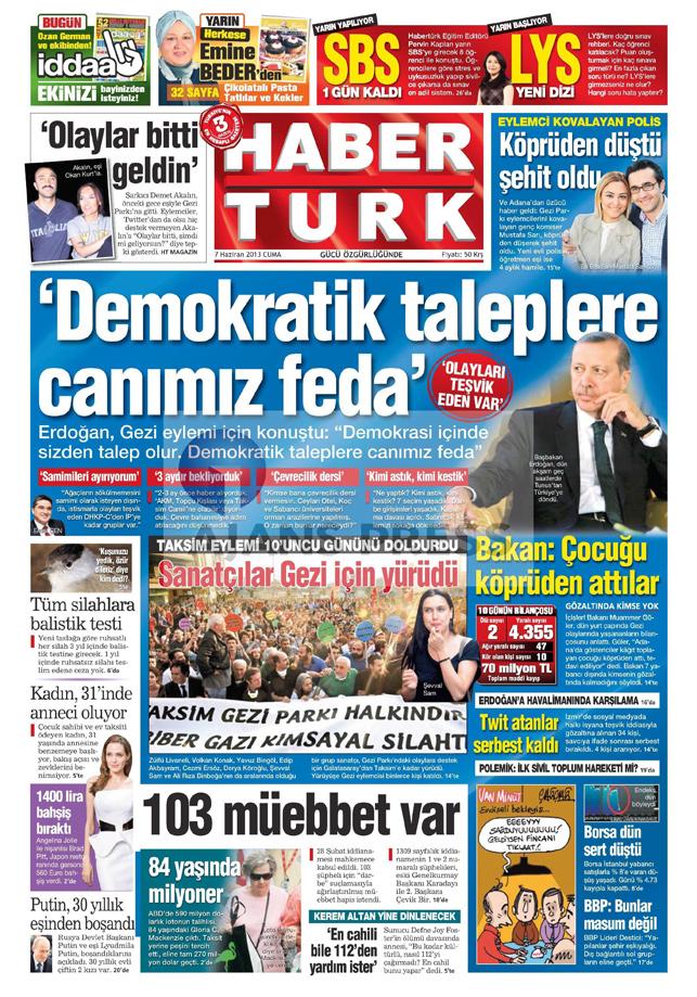 Gazetelerin manşet piştisi: Haber Türk Gazetesi