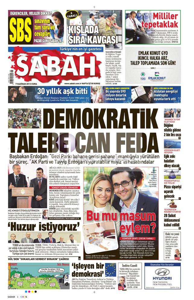 Gazetelerin manşet piştisi: Sabah Gazetesi