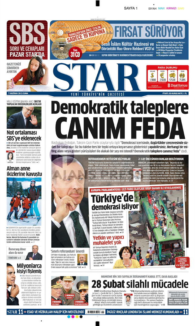 Gazetelerin manşet piştisi: Star Gazetesi