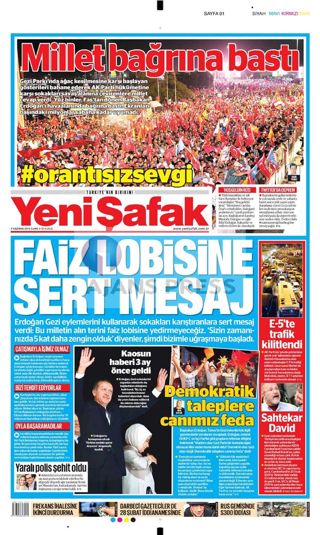 Gazetelerin manşet piştisi: Yeni Şafak Gazetesi