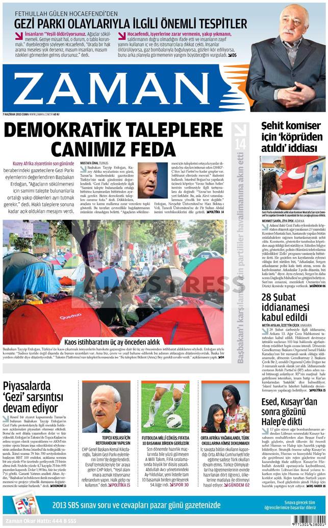 Gazetelerin manşet piştisi: Zaman Gazetesi