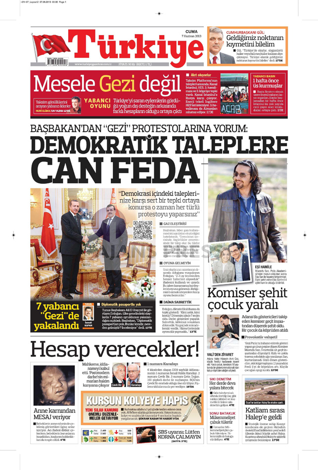 Gazetelerin manşet piştisi: Türkiye Gazetesi