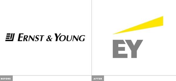 Ernst & Young eski ve yeni logo yan yana