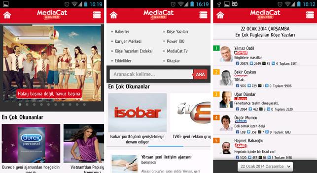 MediaCat mobil arayüzü ile yayında