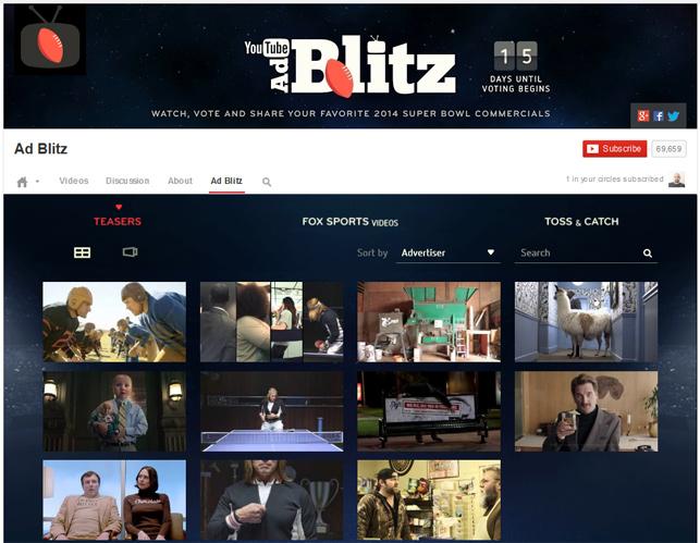 YouTube 'tan Super Bowl'a özel galeri