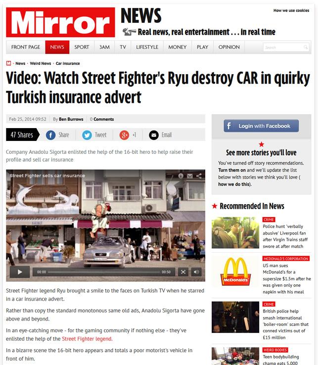 Street Fighter'a gönderme yapan reklam filmi hem yurt içinde hem de yurt dışında ses getirdi.