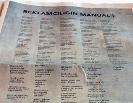 Manual Effect Ajans başkanı Burak Köprülü bugünkü Hürriyet'te sivri söylemler içeren bir ilan yayınladı.