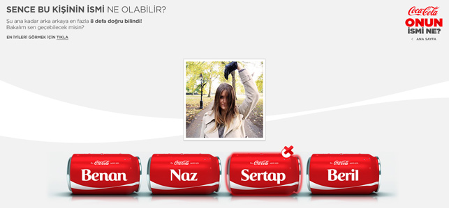Coca-Cola'dan isme özel oyunlaştırma: 'Onun İsmi Ne?'