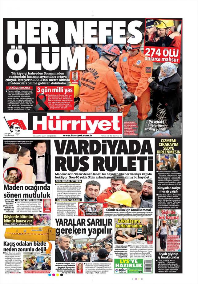 Soma faciası gazete manşetlerine böyle yansıdı: Hürriyet