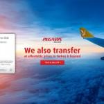 "Isobar'dan Wetransfer'de uluslararası Pegasus Airlines reklamı: ""We also transfer""."