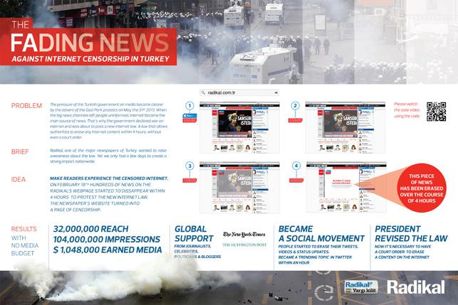 Radikal Gazetesi, Silinen Haberler (Fading News) kampanyası, TBWA\ISTANBUL