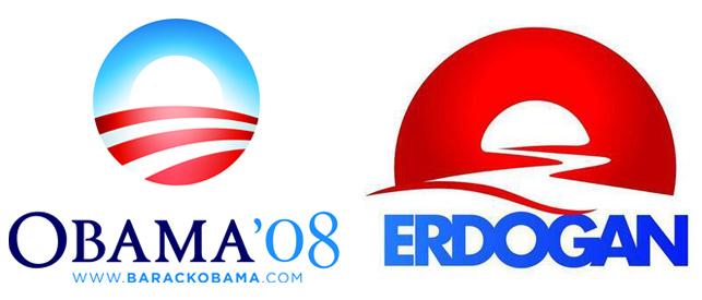 Erdoğan için hazırlanan logo, Obama'nın 2008 seçimlerinde kullandığı logoyu akıllara getirdi.