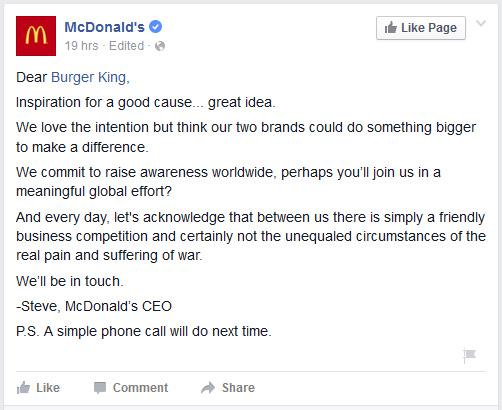 McDonald's, Burger King'in Dünya Barış Günü teklifine Facebook hesabından cevap verdi.
