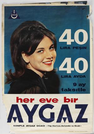 60'lardan bir Aygaz ilanı, reklam yüzü oyunculuk kariyerine başlayan Esen Püsküllü.