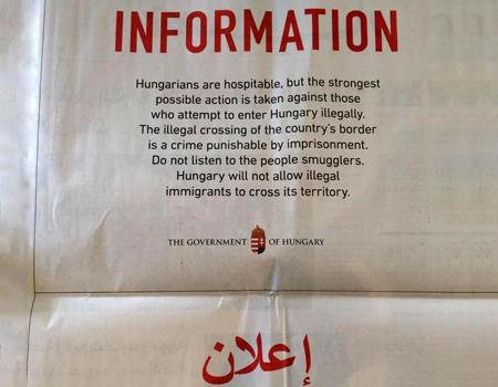 Macaristan göçmenlere gazete ilanı ile sesleniyor