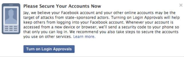 facebook güvenlik uyarısı