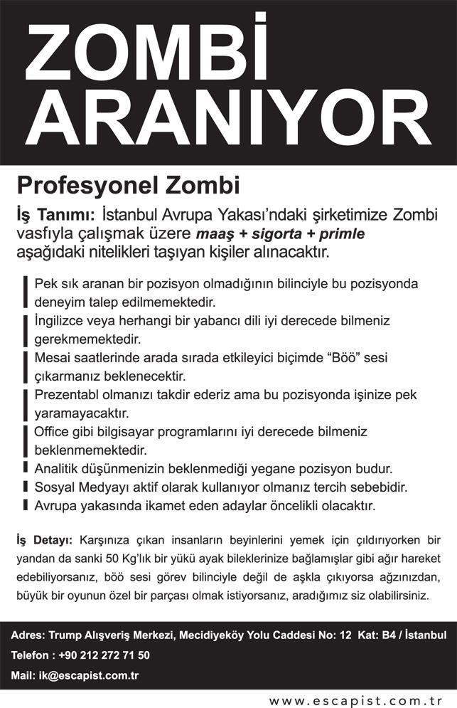 Profesyonel zombi aranıyor