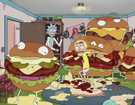 Rick and Morty Carl's Jr. için ekranda
