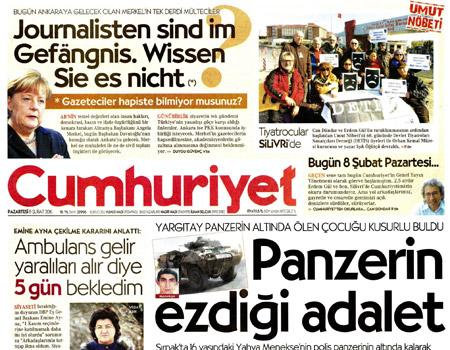 Cumhuriyet'ten Almanca manşet