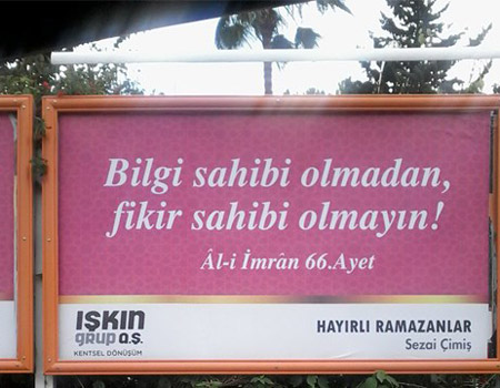 Mersin'de ayete özet geçen ramazan ilanı