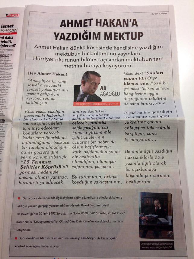 Ali Ağaoğlu'ndan Ahmet Hakan'a ilanla cevap