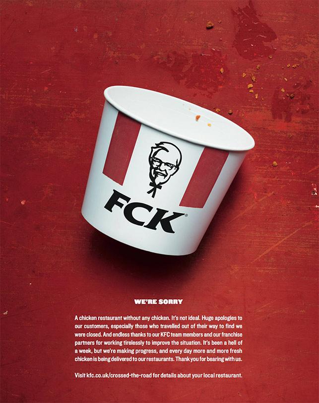 Tavuksuz kalan KFC'den esprili özür ilanı