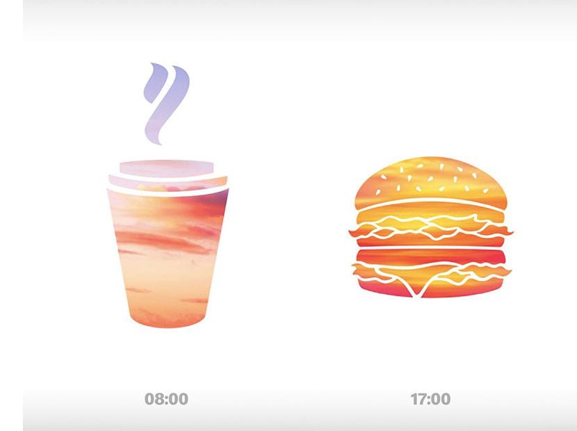 McDonald's'tan farklı saatlere özel minimalist reklamlar