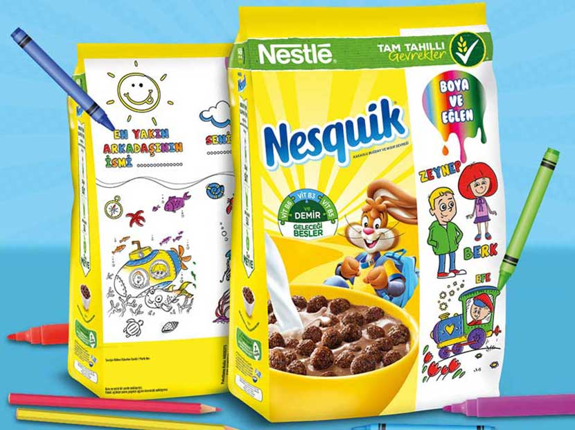 Nesquik'ten boyanabilir paketler