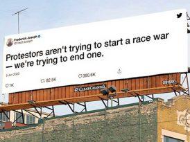 Irkçılık karşıtı tweet'ler açıkhavada