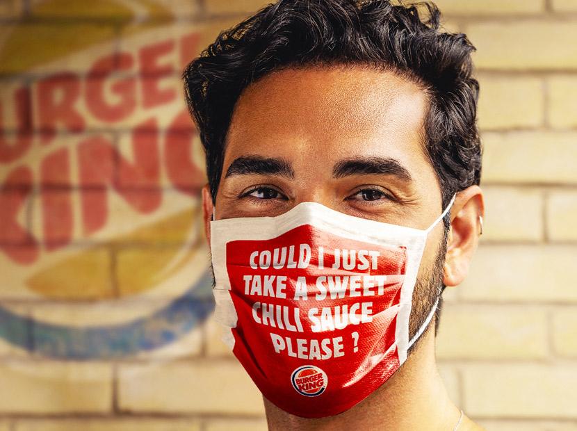 Burger King siparişleri yüz maskelerinde