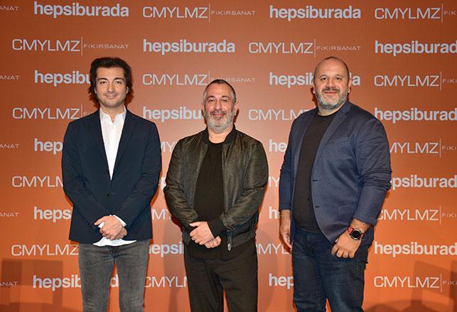 Hepsiburada CEO'su Murat Emirdağ, Cem Yılmaz ve Hepsiburada CMO'su Yüce Zerey